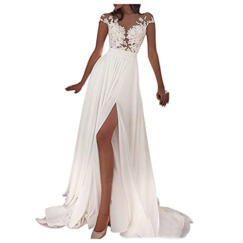 Blingko Weiß Brautkleider Hochzeitskleider Damen Lang mit Schlitz Sexy V-Ausschnitt Spitzen Elegant Cocktail Kleid Abendkleider für Hochzeit