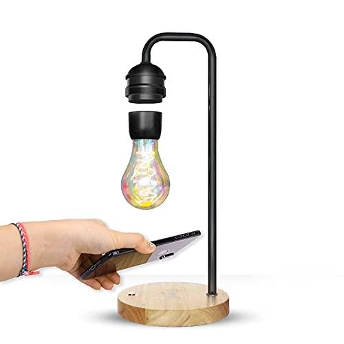 Lámpara de escritorio de levitación magnética LED con cargador inalámbrico Qi Lámpara de mesa Flotante Lámpara colgante creativa Decoración Dormitorio Sala de estar Decoración Luz de noche,Negro