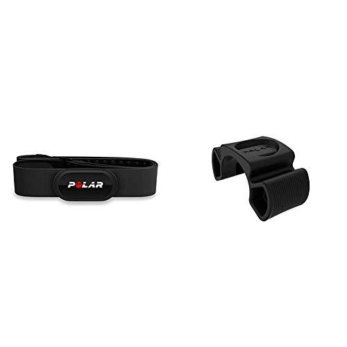 Polar H10 Herzfrequenz-Sensor, Schwarz, Wasserdichter Herzfrequenz-Sensor mit Brustgurt & Unisex– Erwachsene Bike Mount Set Universal Fahrradhalterung, schwarz, One Size
