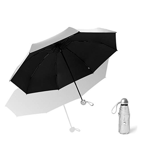 WWHSS 8-Rib Pocket Miniskirt Umbrella Anti-Ultraviolet Sun Umbrella Rain and Windproof Portable Fold Umbrella. Anti-UV Umbrella (Color : Umbrella 1 Black)