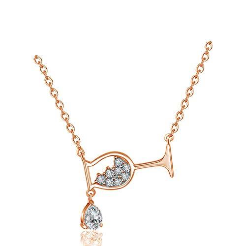 TJJF Halskette Sterling Silber 925 Tasse Halskette Charmante weibliche Wassertropfen Anhänger Schlüsselbein Kette Mode Hochzeit Party Schmuck