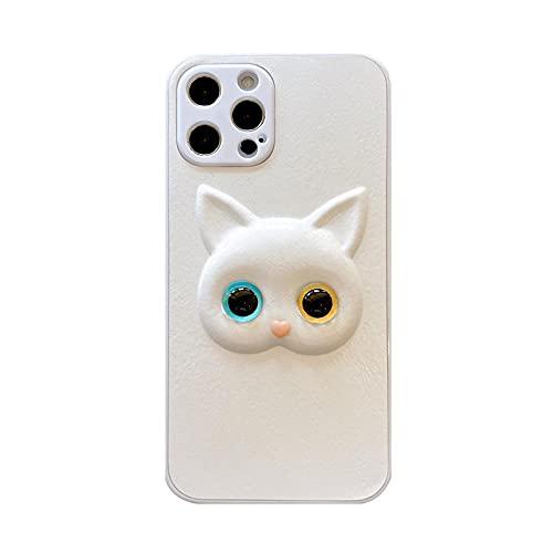 JINGJINGJIAYOU 3D Lindo Blanco Gatos Fundas y Carcasas para teléfonos móviles Compatible iPhone 12 Pro MAX Adecuado para Todos Los Modelos De La Serie iPhone Anti-Choque Ultra-Delgado Funda de