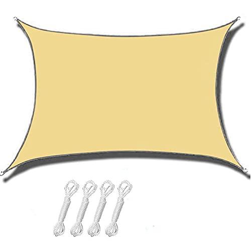 BYHUACN Toldo rectangular de 2 x 3 m, con kit de fijación, toldo impermeable con bloque UV, toldo de toldo de vela para exteriores, jardín, fiesta, patio, arena