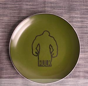 JSJJAET Plato de Cena 8 Pulgadas de la Historieta de la Placa de cerámica Platos de Porcelana Pasteles de la Torta de Frutas Bandeja de la Cena Placas niño Vajilla (Color : Hulk, Plate Size : 8inch)