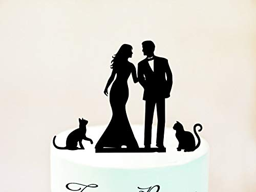Wedding Cake Topper With Cats Silhouette Cake Topper With Two Cats Cats Cake Topper Silhouette Cake Topper With Cats Cake Topper Cats