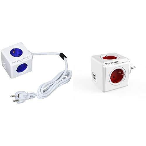 PowerCube Allocacoc 1402BL/DEEUPC Extended Regleta de 4 Tomas de Corriente, Cable de 1.5 Metros, 2 USB y Kit de Soporte para Fijar en Mesa, Color Azul, 250 V + Original USB