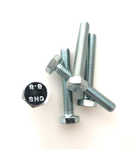DIN 933 / ISO 4017 – Förch – Tornillo hexagonal, rosca completa 8.8, acero galvanizado endurecido – fabricante de marcas alemanas – 6 kt 8,8 VZ (M8 x 50 (100 unidades))