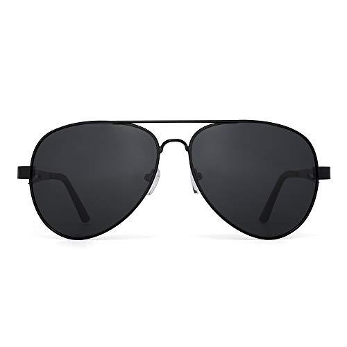 JM Gafas de sol piloto polarizadas retro hombres, mujeres, montura de metal con bisagras de resorte, protección UV 400 (montura negra/lente gris polarizada)