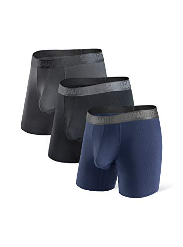 Separatec Herren Boxershorts Glattes Bambus-Rayon mit separaten Beuteln Unterwäsche Boxershorts Stilvolle Badehose, 3er-Pack M Lange Beine: Schwarz+ Dunkelgrau+ Dunkelblau