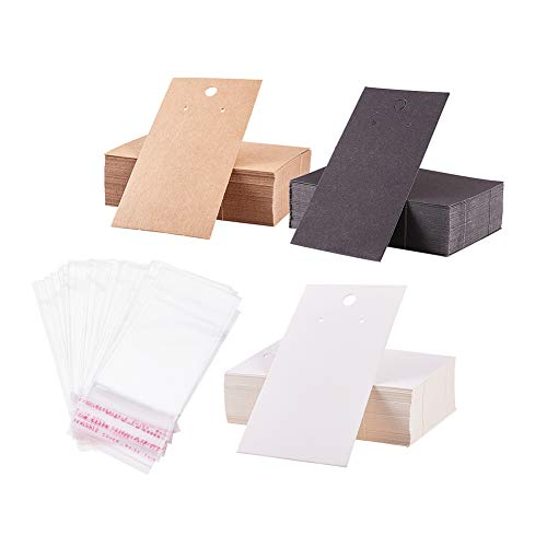 PandaHall Elite 150 STK. 3 Farben 9x5 cm Papier-Ohrring-Displaykarten mit 150 STK. Klare, Selbstklebende Beutel, Blanko-Kartenhalter, Papieranhänger für Ohrring-Ohrstecker