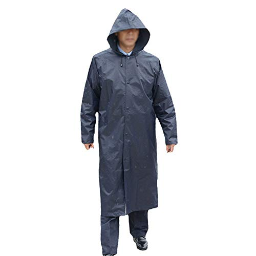 Wuzhengzhijia Raincoat Outdoor Security Long Section Full Body Increase Poncho Waterproof Men and Women Raincoat Jacket (Color : Navy Blue, Size : XL)