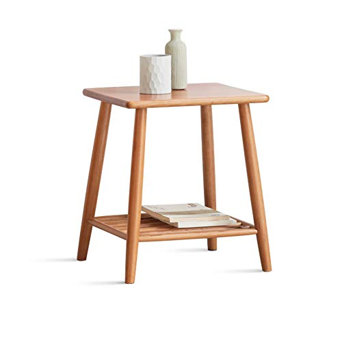 YANGLY Side Table, Simplistic End Table, Oak, with Compartments Suitable for Living Room/Balcony