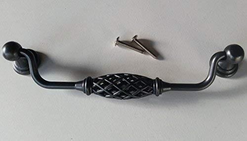 Klappgriff Truhe Hängegriff Schrankgriff Möbelgriff BA 160 mm Schwarz patiniert Antik *4009