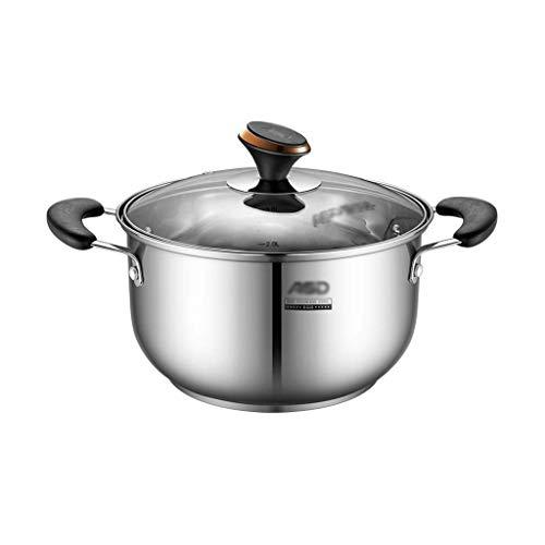 Stockpots Stock Pot, dik 304 roestvrij staal Stock Pot, pan met antiaanbaklaag, inductie kookplaat Gas Universal, 20 / 22cm (Kleur: C, Afmetingen: 22cm * 10cm) HAOSHUAI (Color : C, Size : 20cm*8cm)
