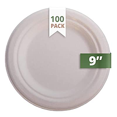 "CaterEco Natural Bagasse Compostable Disposable Plates (100 Count) | 9"" Eco Friendly Biodegradable Round Plate Set 