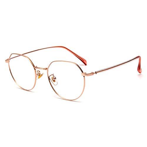 EYEphd Occhiali lettura Retro Anti-Luce BLU/Anti-Fatica da Donna, lenti in Resina 1.56 ad Alta definizione Occhiali Vista rotondi in Metallo ultraleggero con ingrandimento +0,5 a +3,0,Oro,+1.0