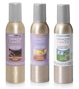 Yankee Candle 3 Pack Concentrated Room Spray 1.5 Oz. Dried Lavender and Oak, Lemon Lavender and Clean Cotton.