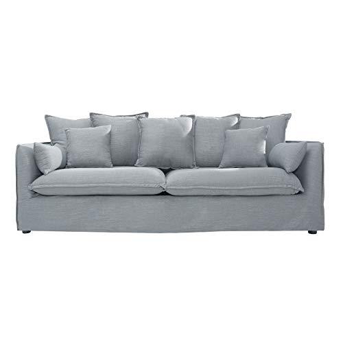 Riess Ambiente Großes Hussensofa Heaven 3-Sitzer 215 cm grau Leinenstoff 3er Sofa Couch Landhaus Couchgarnitur