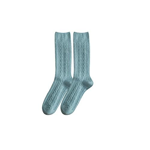 IAMZHL 2 paia di calzini da donna in colori casuali tinta unita lunghi casual sportivi ispessimento caldo e confortevole - Azzurro,36-44
