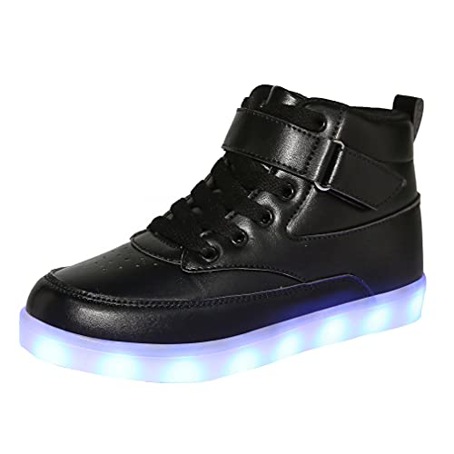 Voovix Unisex LED Shoes Light Up Shoes High Top Sneakers for Women Men black42