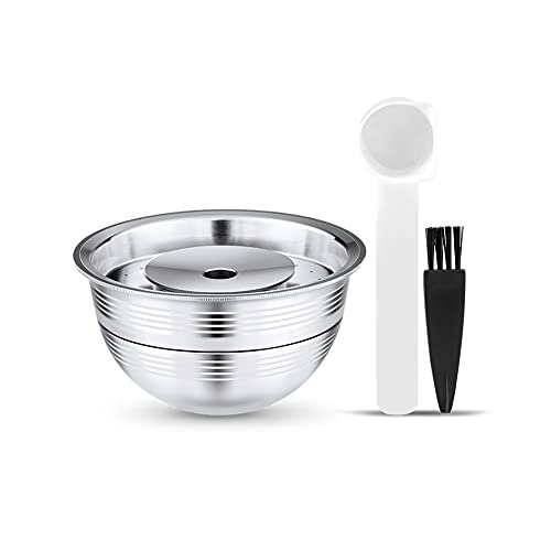 Stainless Steel Refillable Capsules Reusable Coffee Pods Compatible for NESPRESSO VERTU Pods Espresso Capsules Fits GCA1 and ENV135S and Vertuo Plus & Vertuoplus BEVILLE DELUXE