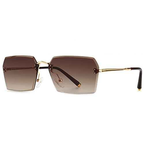 LUOXUEFEI Gafas De Sol Gafas De Sol Cuadradas Sin Montura Para Hombre, Gafas De Sol Azules Marrones, Accesorios De Primavera Rectangulares Para Mujer