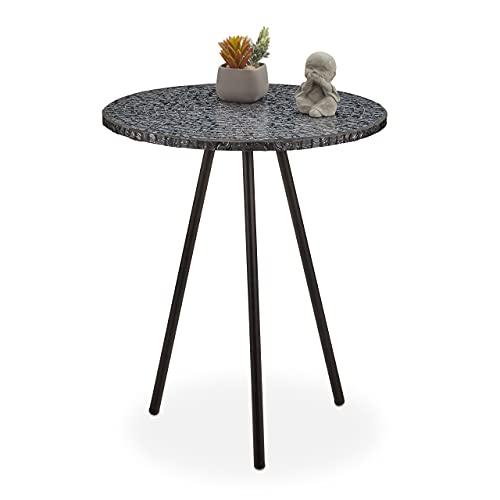 Relaxdays Mesa Auxiliar Mosaico, Hecha a Mano, Hierro-DM-Cristal, Negro, 50 x 41 cm