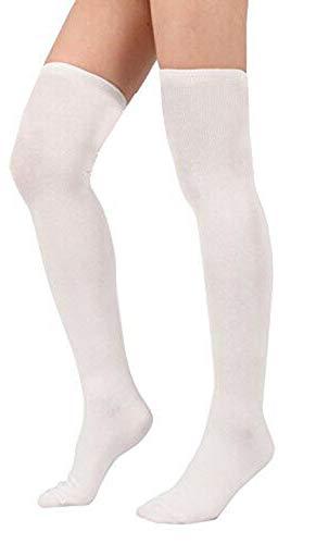 Calcetines de lycra sobre la rodilla blancos, negros, granate, gris, azul marino, marrón y verde Blanco 3 pares. UK 9-12 (EU 27-30)