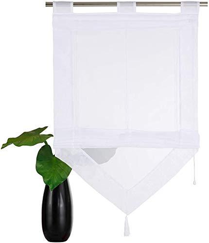 SIMPVALE Raffrollo, transparent, mit Quaste, für Küche, Badezimmer, Balkon, 45 x 140 cm, Weiß