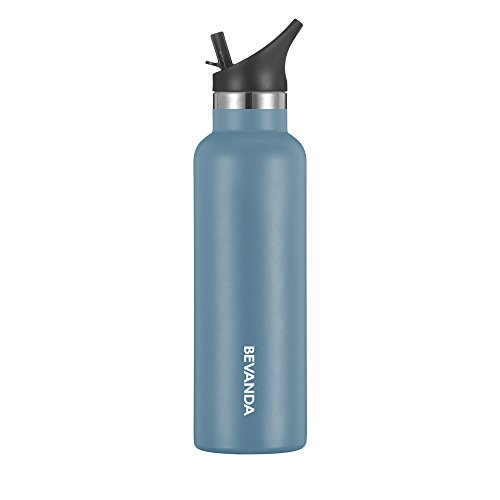 Bevanda 20 oz Sports Water Bottle Straw Cap - Double Walled Vacuum Insulated Water Bottle & Thermos Shatterproof Stainless Steel, Sports Water Bottle - All Sports And Leak-proof - Avalon Blue
