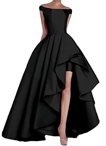 NaXY Abendkleider Lang Elegant Ab-Schulter High-Low Prinzessin Liebsten Asymmetrische Satin...