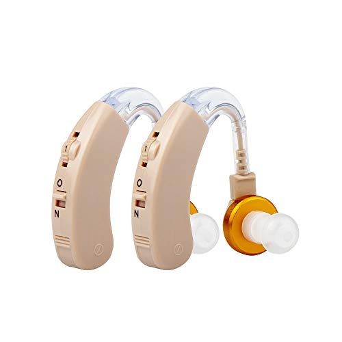 Premium Hearing Sound Amplifiers, Personal Sound Amplification Device with 6 Batteries Fit to Either Ear (2 Pack)