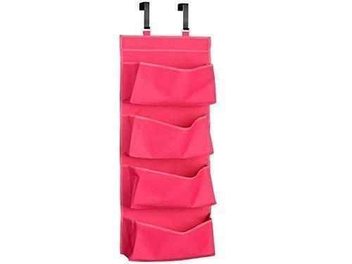YNR Organizador de zapatos para colgar en la puerta de 4 secciones, de poliéster, color rosa