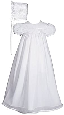 "Girls Special Occasion 25"" Cotton Christening Tricot Overlay Gown with Lace Bonnet 6mo White"