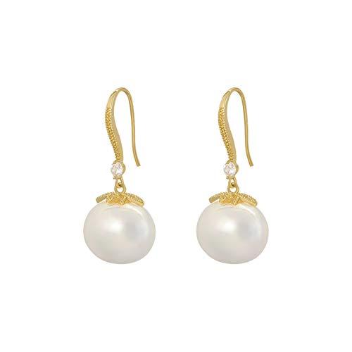 ZCPCS Nuevo Classic Oval Pearl Pendientes Pendientes Mujeres Celebridades Elegante Joyería Sexy Girls Insólito Accesorios de Fiesta (Main Stone Color : White, Metal Color : Gold Color)