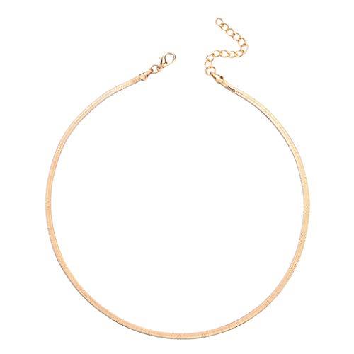 QIANGU Collar de Mujer, Collar de Cadena de Hoja de Serpiente Plana Sexi para Mujer, Gargantilla de clavícula, joyería Femenina