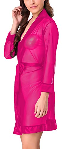 Xs and Os Women's Polyester Spandex Mix Solid Mesh Robe Babydoll Lingerie with Satin Border (Rose Red, Free Size)