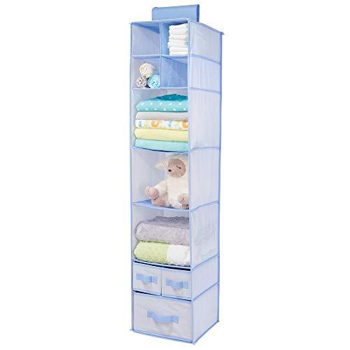mDesign Armario colgante de fibra sintética – Organizador para armario de los niños con 7 estantes de tela y 3 cajones – Estantería para colgar y guardar mantas, pañales y ropa de los niños – azul