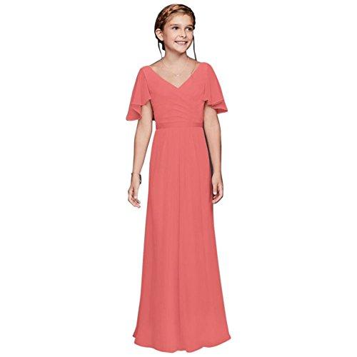 Flutter Crinkle Chiffon Junior Bridesmaid Dress Style JB9614, Coral Reef, 6