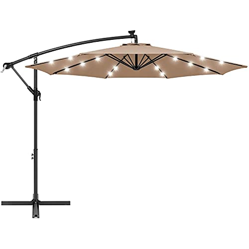 XKESBS Ombrellone da Giardino con sfalsamento a LED Solare da 10 Piedi, da Appendere al Mercato, ombrellone da Giardino per Cortile, Bordo Piscina, Color Crema
