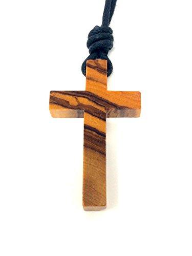 Halskette mit Kreuz aus echtem Olivenholz handgemacht auf Mallorca Holzschmuck Schmuck aus Olivenholz Kette Rosenkranz