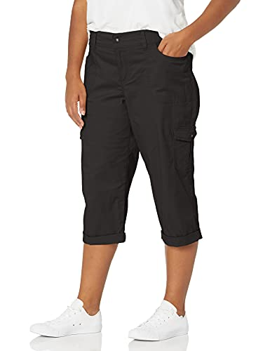 Lee Women's Plus-Size Relaxed Fit Austyn Knit Waist Capri, Black, 16W/Medium