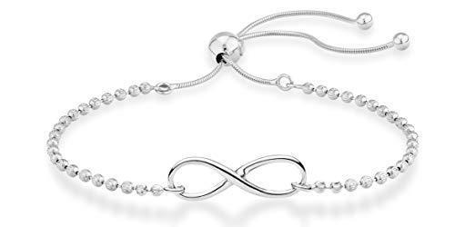 MiaBella 925 Sterling Silver Infinity Adjustable Bolo Beaded Ball Chain Bracelet for Women Teen Girls, Choice of 18K Gold Plated or Silver Made in Italy (sterling silver)