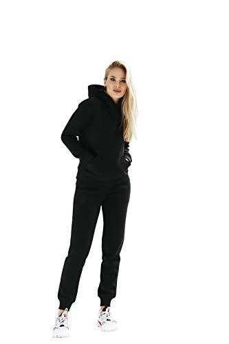 Polker Damen Sportanzug Schwarz | Set Frauen Anzug Sport | Sweatshirt und Jogginghose Größe L