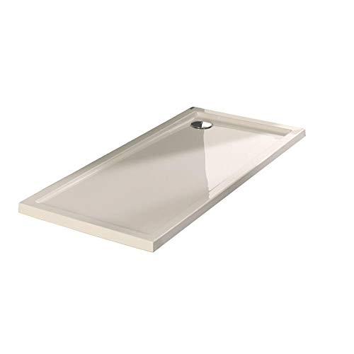 Plato ducha acrílico antideslizante liso modelo Nublo Bricodomo 70x120 Blanco con válvula incluida