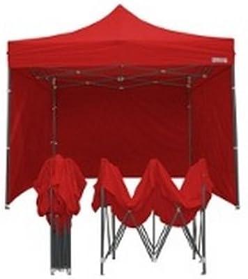 Carpa plegable 3 x 3 rojo acero + 4 Laterales laterales PVC 350 g Metro: Amazon.es: Jardín