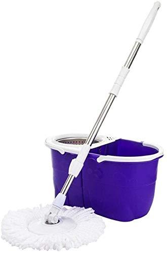 QIURUIXIANG Rotación de la fregona giratoria productos de limpieza de suelos de la fregona - cubo y fregona giratorio con un hogar de microfibra kit mop giratorio limpieza (color: púrpura tamaño: 54.5