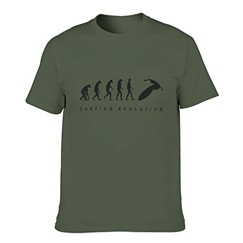 Camiseta de algodón para hombre, diseño de evolución de surf, divertida, transpirable, con estampado verde militar XXXXXXL