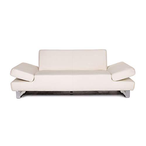 Willi Schillig Leder Sofa Weiß Zweisitzer Funktion Couch #13983