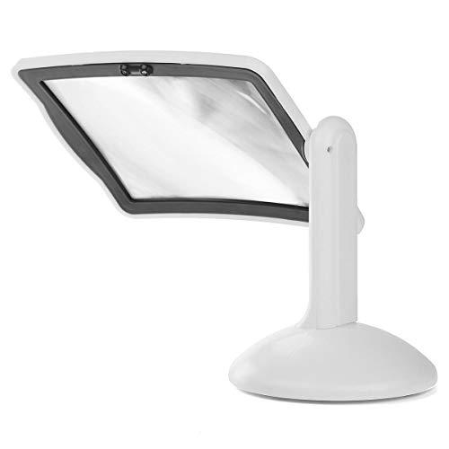 Dinglihuaqu Familie Wohnzimmer Schlafzimmer Stil Dekoration Mit 2 LED-Leuchten Desktop-Lupe Plastik Weiß Vergrößerungsglas Stehen Typ,